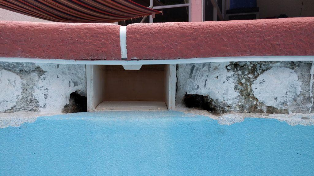 leak holes found around pool skimmer