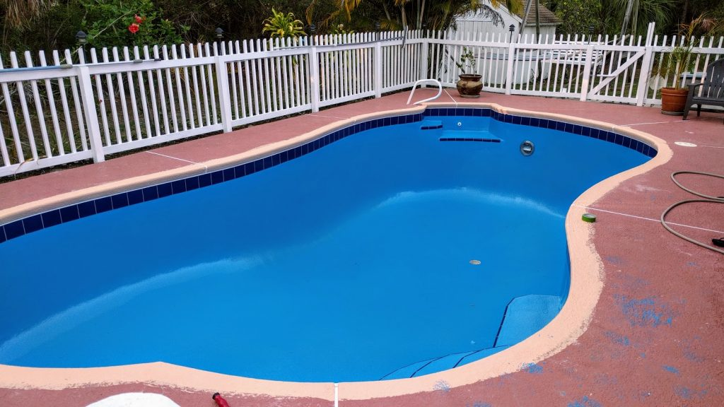 finished painting pool with ehb pool guard epoxy paint